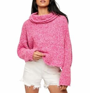 NWT Free People BFF Cowl Neck Sweater Prickly Pear